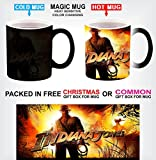 ADVENTURE MOVIE MAGIC COLOUR CHANGING HEAT SENSITIVE BLACK MUG INDIANA JONES IMAGE FOR CHRISTMAS GIFT WITH GIFT BOX OPTIONS P1 (With Christmas Gift Box)