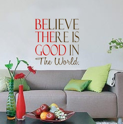 """GMDdecals Be The Good In The World Quote Vinyl Wall Decor Decals [GLOSSY BROWN/RED]- 20"""" x 20"""" -Adhesive High Glossy Vinyl [3mil]Made In USA"""