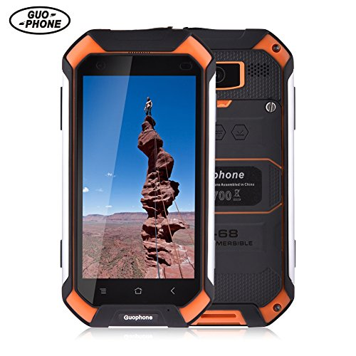 Smart Mobile Phone Guophone V19 3G Smartphone 4.5 Inch Android 5.1 IP68 Waterproof Dust and Shock Resistant MTK6580 Quad Core 2GB RAM 16GB ROM Orange