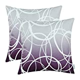 CaliTime Pack of 2 Soft Canvas Throw Pillow Covers Cases for Couch Sofa Home Decor Modern Gradient Ombre Circles Rings Both Sides 18 X 18 Inches Gray to Deep Purple