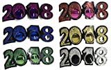 6 Pack Of 2018 New Years Eve Party Glasses (Classic Glitter)