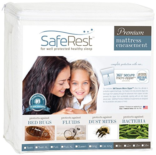 SafeRest Premium Zippered Mattress Encasement - Lab Tested Bed Bug Proof, Dust Mite and Waterproof - Breathable, Noiseless and Vinyl Free (Fits 12-15 in. H) - Queen Size