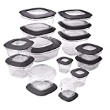 Rubbermaid Premier Easy Find Lids Food Storage Containers, Gray, Set of 28