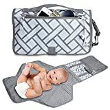 Baby Diaper Changing Pad, Waterproof Portable Diaper Bag Built-in Head Cushion & Pockets, Travel Changing Station for Travel, Home, Stroller Walks or Diaper