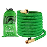 Joeys Garden Expanding Garden Hose Extra Strength Stretch Material with Brass Connectors - Bonus 8 Way Spray Nozzle, Carrying Bag and Hanger (50 Feet)