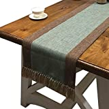 PHNAM Table Runner with Tassels 72 Inches Long Linen Cotton Coffee Dining Table Cloth Runners Non Slip for Home Kitchen Party Wedding Decorations, Machine Washable (Mint, 15x72 Inches)