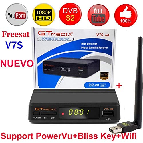 MeterMall Hot Freesat V7S HD FTA Digital Satellite TV Receiver DVB-S2/S Support BissKey 1080P US Plug