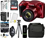 Canon PowerShot SX420 is Digital Camera (Red) with 20MP, 42x Optical Zoom, 720p HD Video & Built-in Wi-Fi + 64GB Card + Reader + Grip + Spare Battery and Charger + Tripod + Complete Accessory Bundle
