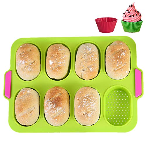KeepingcooX Mini Baguette Baking Tray, 11 x 9.5 In, Non-stick Perforated Pan - Bread Crisping Tray, Loaf Baking Mould, French-bread, Breadstick and Bread Rolls with Delicious Crispy Crusts