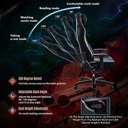 FANTASYLAB Big and Tall 400lb Massage Memory Foam Gaming Chair – Adjustable Tilt, Back Angle and 3D Arms High-Back Leather Racing Executive Computer Desk Office Chair, Metal Base, Grey/Black