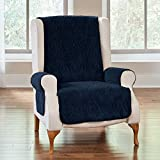 BrylaneHome Plush Ultimate Wing Chair Protector - Navy
