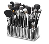 byAlegory Acrylic Makeup Brush Organizer | 24 Space Storage w/Deep Slots for Cosmetic Beauty Brushes Refillable Container