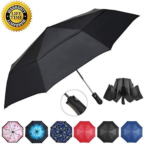 Prodigen Inverted Folding Umbrella Travel Umbrella Windproof Compact Umbrella Inside Out Umbrella Reversible Reverse Umbrella Automatic Open and Close Umbrella for Woman & Man UV Sun & Rain (Black)