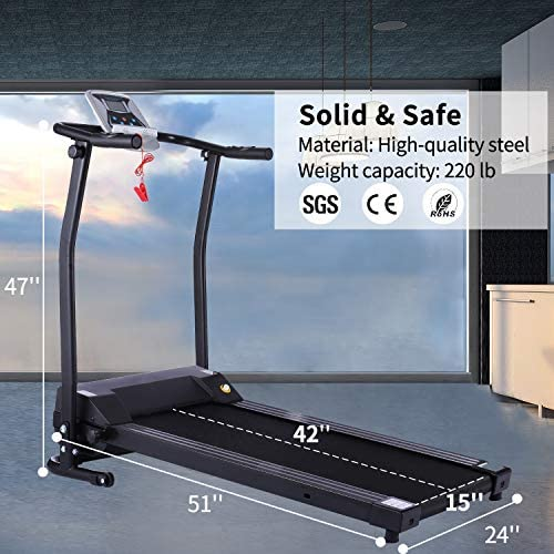 Electric Folding Treadmill for Small Spaces, Ultra-Quiet Portable Exercise Running Machine for Home Workout with 12 Programs & LCD Screen 6
