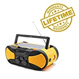 Crank Radio, NOAA Weather Radio, Audio Speaker, RunningSnail AM/FM Emergency Radio with 4000mAh Battery, 1W Flashlight, 4LED Reading Lamp,1W Solar Panel Charger, SOS Alarm (Orange)