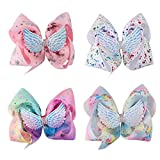 Ncmama 7' Angel Wings Hair Bow Clips - Large Boutique Bows For School Girls Pack of 4