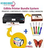 Edible Image Printer Bundle for Cakes and Cookies–Includes Edible Printer Canon, Edible Ink Cartridges, 50 Wafer Sheets & Edible Markers–Best Bakery Crafts Photo Eatable Printer for Cakes by Icinginks