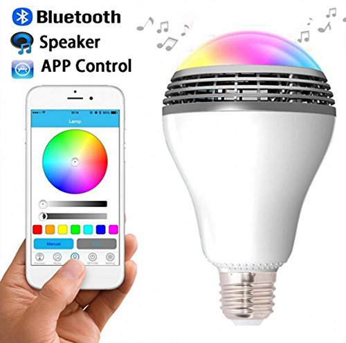 Bluetooth Speaker Led Light, Wireless E27 Smart LED Light Bulbs Lamp Lighting with RGB Color Changing / Music Player / Smartphone App Controlled for home-White