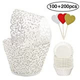 BAKHUK 100pcs White Cupcake Wrappers Vine Lace Cupcake Liners and 200pcs Baking Cups for Wedding Birthday Party Decoration