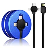 3 in 1 Charging Cable for Cell Phones Charger - Retractable USB Cord Data Sync Adapter Multi Compatible with Micro USB/Type-C for All Devices 3.3 ft (Blue)