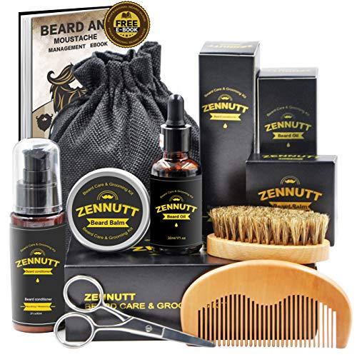 Ultimate Beard Care Kit for Men w/ Free Beard Conditioner & Beard Balm Butter & Beard Oil & 100% Boar Beard Brush & Wood Beard Comb & Beard & Mustache Scissors,Best Gift Set