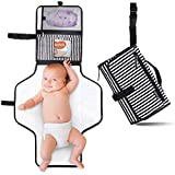 Portable Diaper Changing Pad Clutch, Travel Changer Station Kit for Baby and Infant with Extra Long Mat by Pantheon, Holds Diapers and Wipes (Black Breton Stripes)