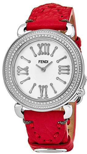 """51cyI8YgHLL Polished stainless steel round case (37 mm in diameter, 7.80 mm thick), Screw-in case-back engraved with """"Fendi Selleria"""" and surrounding stitching effect symbolizing Fendi hand-stiched leather, Stainless steel bezel set with 2 rows of diamonds Bezel can be opened by the push of a button to easily remove the interchangeable strap and replace it with another band Mother of pearl dial with """"Fendi"""" at the 12 o'clock position, Silver-tone hands, Applied silver-tone Roman numerals and indices"""