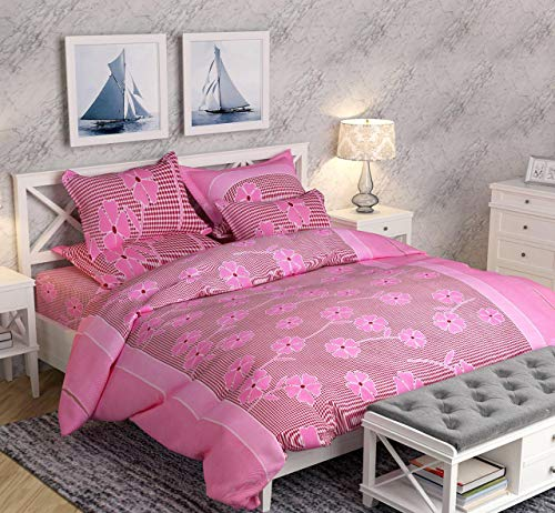 51czfraOdGL - MACERAON 3D Printed Polycotton King Size Double Bedsheet with 2 Pillow Covers - Pink Flowers