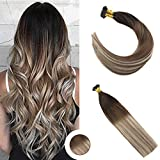 Ugeat 16' Flat Tip Cold Fusion Hair Balayage Human Hair Extensions 1G Per Strand 50 Strands/Package Color Dark Brown Ombre Medium Brown Mix Bleach Blonde