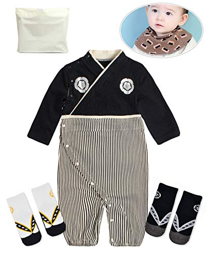 Baby Kids boy Japanese Hakama Style Coverall Kimono Robe Rompers bib Geta Style Socks Set(16-24 Months Black)