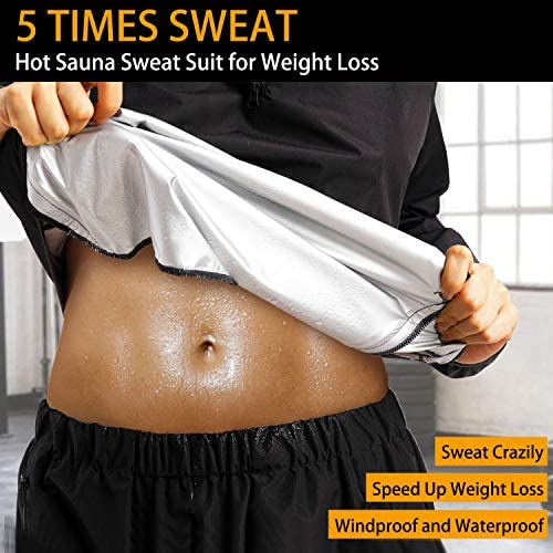 Junlan Sauna Suit for Women Sweat Sauna Pants Weight Loss Jacket Gym Workout Vest Sweat Suits for Women 4