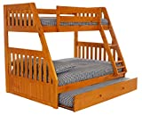 Discovery World Furniture 2118-2190 with with Trundle Bunk Bed, Twin Over Full, Honey