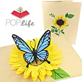 PopLife Blue Butterfly and Sunflower Pop Up Valentine's Day Card - 3D Anniversary Gift, Pop Up Mother's Day Card, Thank You, Happy Birthday - Folds Flat for Mailing - for Mom, for Daughter, for Wife