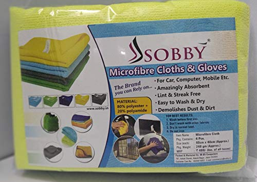 SOBBY Microfibre Cleaning Cloth - 40 cm x 40 cm - 340 gsm, (Multicolor, Pack of 4) 7