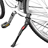 Yakamoz Bicycle Kickstand, Bike Aluminium Alloy Adjustable Side Kick Stand Rear Mount Stand for 22' 24' 26' 700c Tire Cycling Mountain Road Bike Bicycle Black