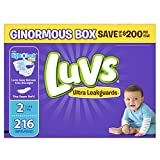 Luvs Ultra Leakguards Disposable Baby Diapers, Size 2, 216 Count (Packaging May Vary)