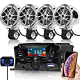 GoHawk TS3-Q 4 Channel Amplifier 3' Motorcycle Waterproof Bluetooth Speakers MP3 Music Sound Audio Stereo Amp System for 7/8-1 in. Handlebar ATV 4 Wheeler w/ AUX, USB, micro SD, FM Radio