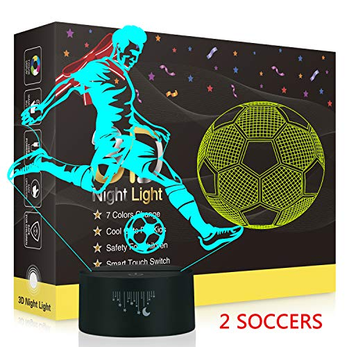 Soccer 3D Night Light,Metplus Kids Room Decor Bedside Lamp 7 Colors LED Illusion Table Desk Lamps USB Touch Sensor Nightlights Children Xmas Birthday Gift - 2 Acrylic Panels