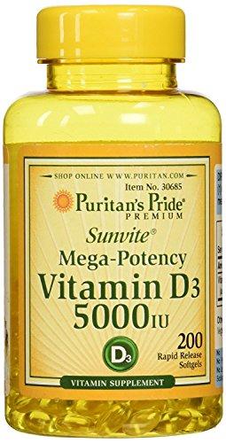 Puritan's Pride Vitamin D3 5000 IU, 200 Softgels
