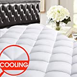 SOPAT Back to School Dorm Essential Twin Mattress Pad - Cooling Pillow Top Plush Mattress Topper Reversible Quilted Fitted Mattress Cover with 8-21'Deep Pocket for Summer