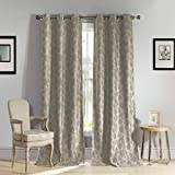 Kelvin - Home Fashion Floral Blackout Room Darkening Grommet Top Window Curtains Pair Panel Drapes for Bedroom, Living Room - Set of 2 Panels - 54 X 84 Inch - Latte