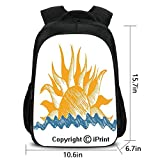Men's Leisure Backpack,The Source of Life Sun with Fire Like Beams and Wave Like Clouds Image,School Bag :Suitable for Men and Women,School,Travel,Daily use,etc.Yellow and Blue