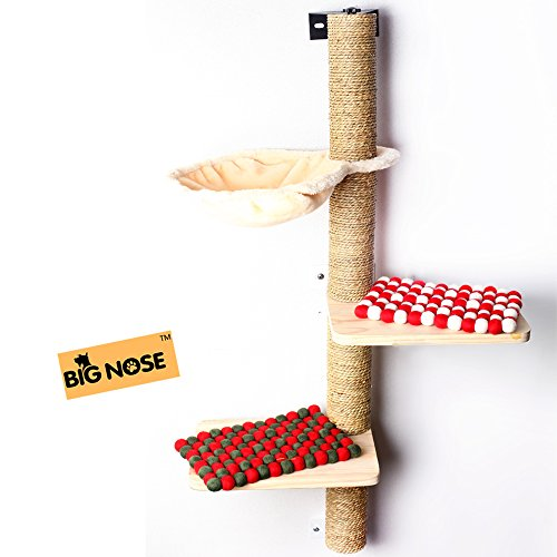 BIG NOSE- Wall Mounted Cat Scratching Post Multi Level Cat Shelves with Solid Wood Steps and Sunny Seat Hammock