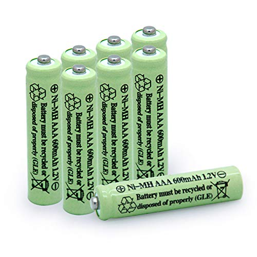 QBLPOWER Solar Light Batteries AAA Triple A NIMH 600mAh 1.2V Rechargeable for Garden Lights Remotes Mice(8Pcs)