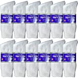 USBingoshop 12 Pairs Mens Physicians Approved Crew Diabetic Socks Cotton 10-13 (12 Pairs D-White)