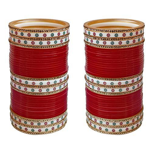 Lucky Jewellery Red Designer Chura Bridal Punjabi Choora Fashion Jewellery Chuda Set (792-M1C1-LEENA-R)