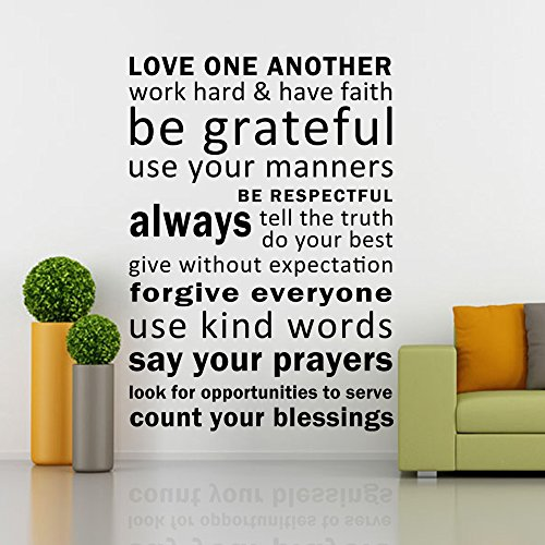 Love One Another, Have Faith, Be Grateful - Inspirational Wall Decal Art Vinyl Quotes - 15 Colors 3 Sizes to Choose (Black, Small)