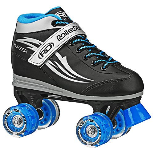 Roller Derby Boys Blazer Lighted Wheel Roller Skate, Black, Size 4