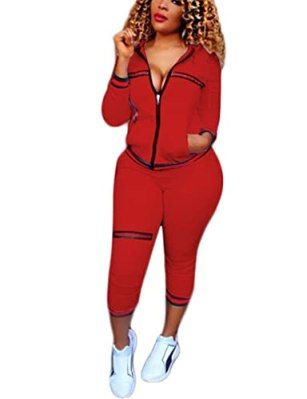 Womens Two Piece Outfits Hoodies + Pants Set Tracksuits Sweatsuits Red S