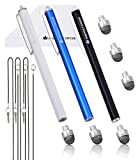 The Friendly Swede Replaceable Micro-Knit Tip Hybrid Stylus with Lanyards, Cloth and Replacement Tips (3 Pack) (Black + White + Dark Blue)